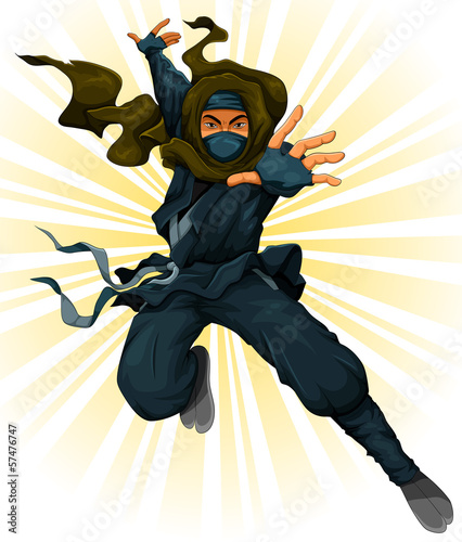 Cuadros en Lienzo cartoon ninja in action