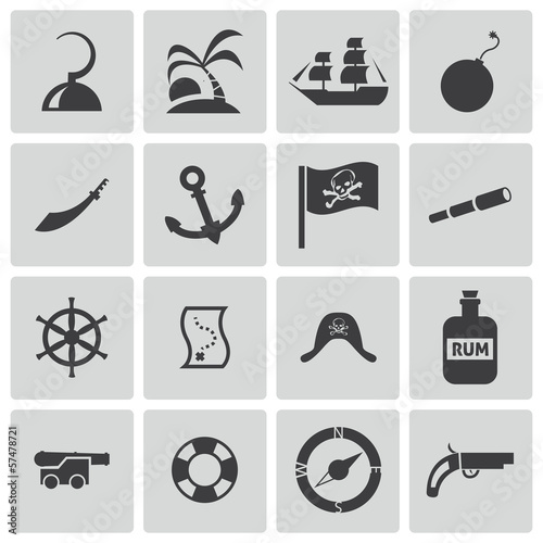 Photo  Vector black pirates icons set