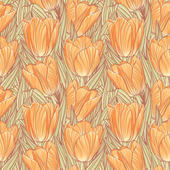 Tapeta Seamless pattern with tulips