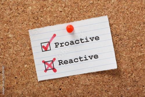 Fotografie, Obraz  Proactive versus Reactive on a cork notice board