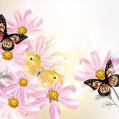 Beautiful floral background with flowers and butterflies