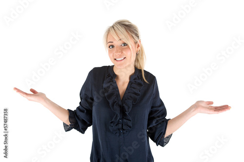 Fotografering  Frau zuckt mit den Schultern