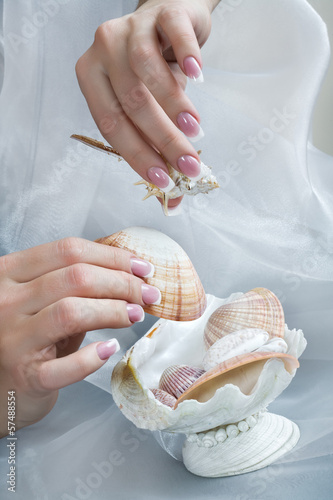 Fotografering  Manicured hands with shell