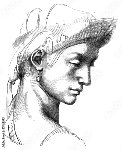 Obrazy Michał Anioł Buonarotti  man-portrait-drawing-by-michelangelo-16th-century