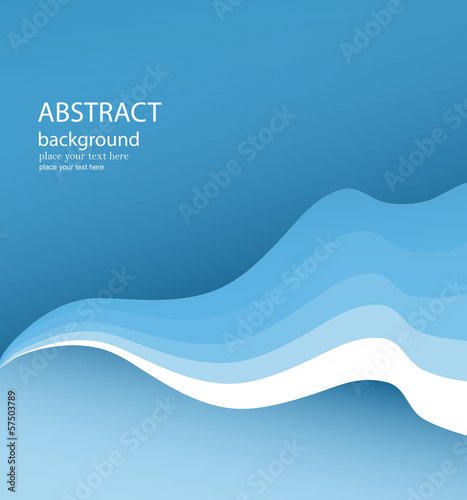 Fotografie, Obraz  Wavy Blue Vector Background