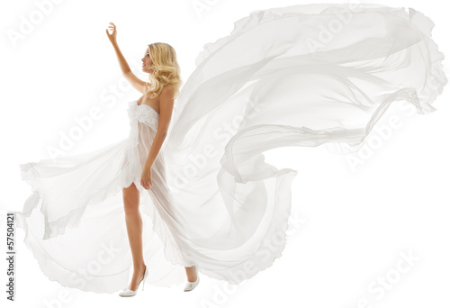 Obraz na plátně  Beautiful woman in white dress with flying fabric