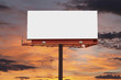 canvas print picture - Blank Billboard with Sunset Sky