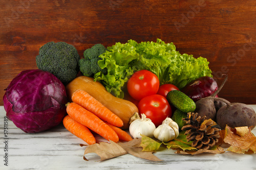 Keuken foto achterwand Groenten Composition of different vegetables with yellow leaves