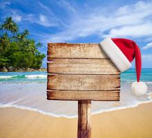 Christmas On Beach. Wooden Sig...