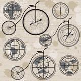Podróżować pojęcie z retro bicyklem, kulą ziemską i kompasem, bezszwowym - 57516526