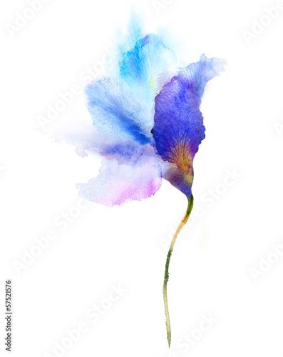 Akwarela niebieski kwiat