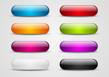 Set Of Color Glossy Buttons