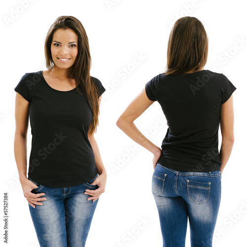 Obraz Sexy woman posing with blank black shirt - fototapety do salonu