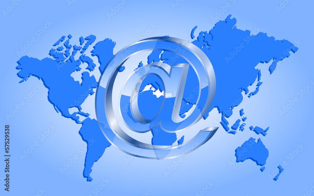 Fototapeta e mail i kontynenty