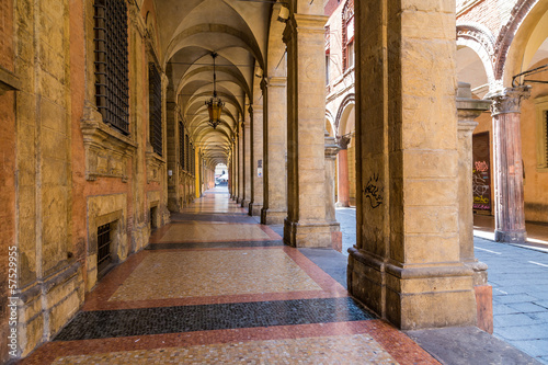arcade in medieval town of Bologna, Italy