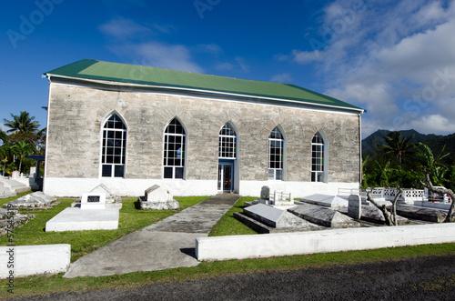 Fotografie, Obraz  Titikaveka Church in Rarotonga Cook Islands.