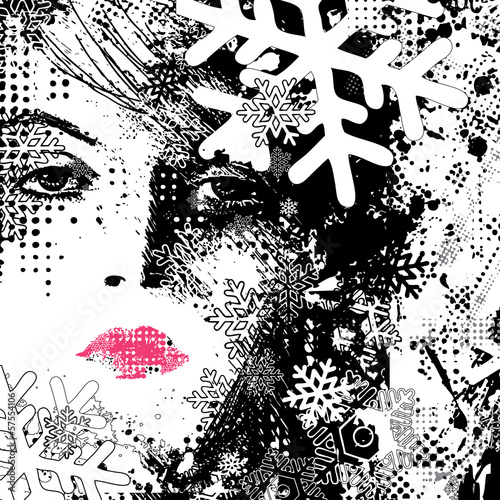 Fotoposter Vrouw gezicht abstract illustration of a winter woman