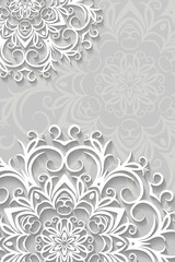Christmas card ог background with paper snowflakes