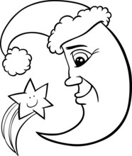 Moon And Star Christmas Coloring Page