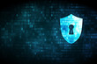 Privacy concept: Shield With Keyhole on digital background