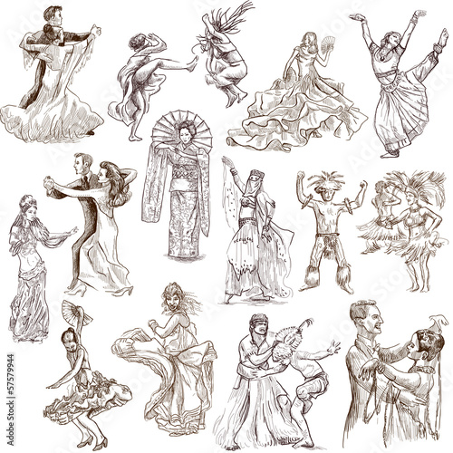 Fotografía Dancing people around the World 1 - hand drawings