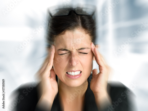 Business woman stress and headache Canvas-taulu