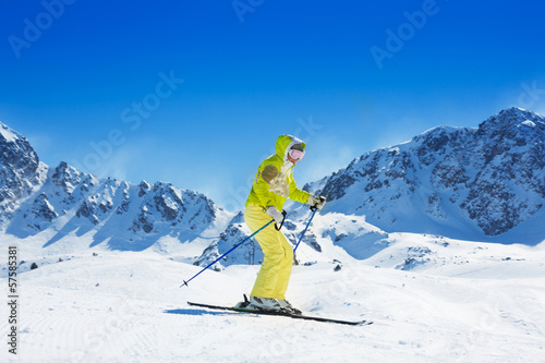 Skiing in the mountains in Andorra