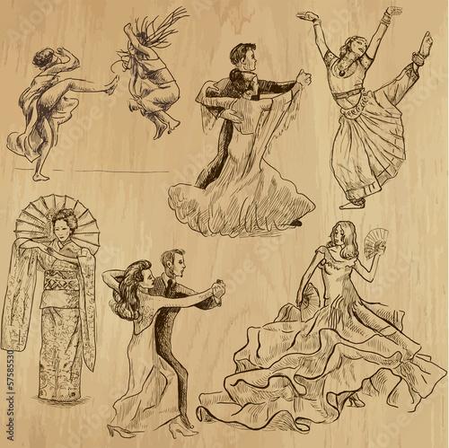 Foto dancing people 1 - hand drawings into vector set