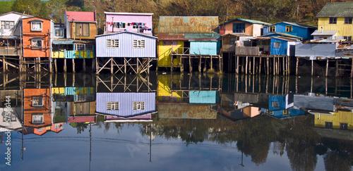 Fényképezés  Palafitos Houses, Patagonia, Chiloe, Chile