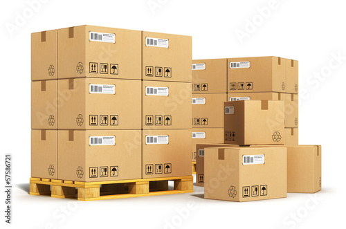 Fotografia Cardboard boxes on shipping pallets