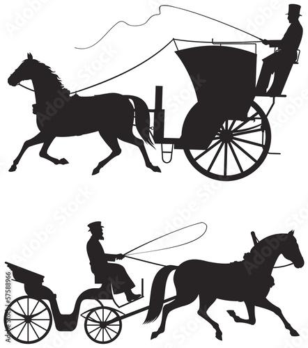 Fotografía Horse taxicab vector silhouettes