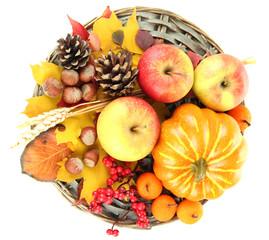 Naklejka na ściany i meble Beautiful autumn composition, isolated on white