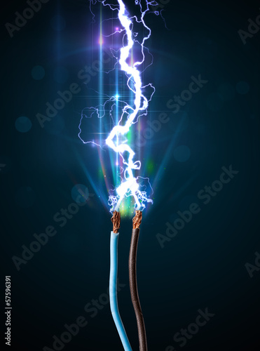 Fotografie, Obraz  Electric cable with glowing electricity lightning