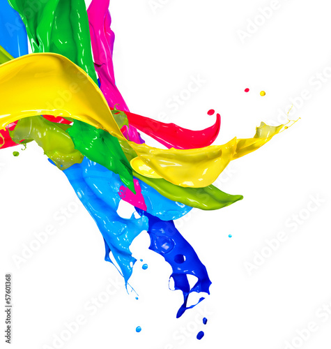 Poster Vormen Colorful Paint Splash Isolated on White. Abstract Splashing