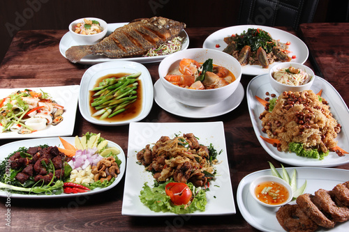Set of Thai food menu Lerretsbilde