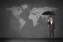 Men Over World Map With Umbrella