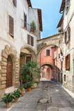 Fototapeta Perspektywa 3d - Pretty street in the ancient city of Tuscany