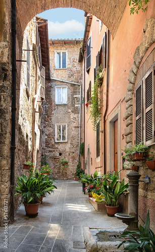Pretty street in the ancient city of Tuscany