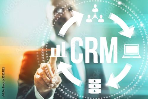 Fotografie, Obraz  Customer relationship management concept man selecting CRM
