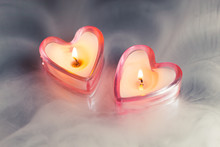 Burning Candle Hearts In Dense Fog
