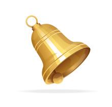 Golden Christmas Bell On White Background