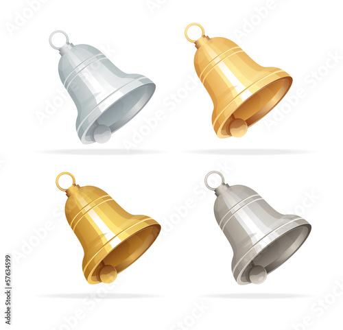 Fotografía Christmas bell set on white background