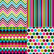 Seamless Stripes, Zig Zag And Polka Dots Background