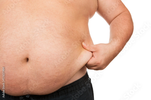 Fotografia  Fat man checking out his weight isolated on white background