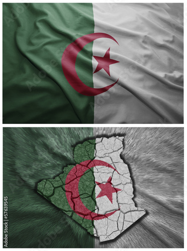 In de dag Algerije Algerian flag and map collage