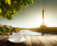 Coffee On Table And Eiffel Tow...