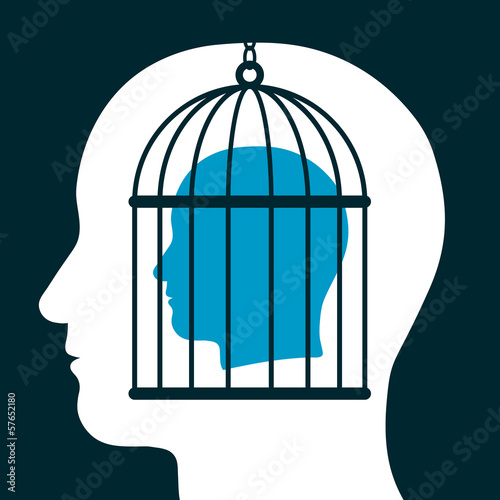 Caged mind inside a head silhouette Plakat