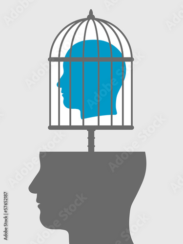 Fotografering  Caged mind above a head silhouette