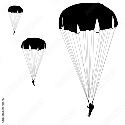 Skydiver, silhouettes parachuting vector illustration Canvas Print
