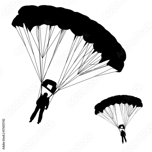 Fotografie, Obraz  Skydiver, silhouettes parachuting vector illustration